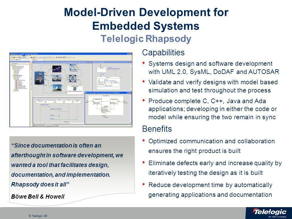 Model-Driven Development for Embedded Systems Telelogic Rhapsody