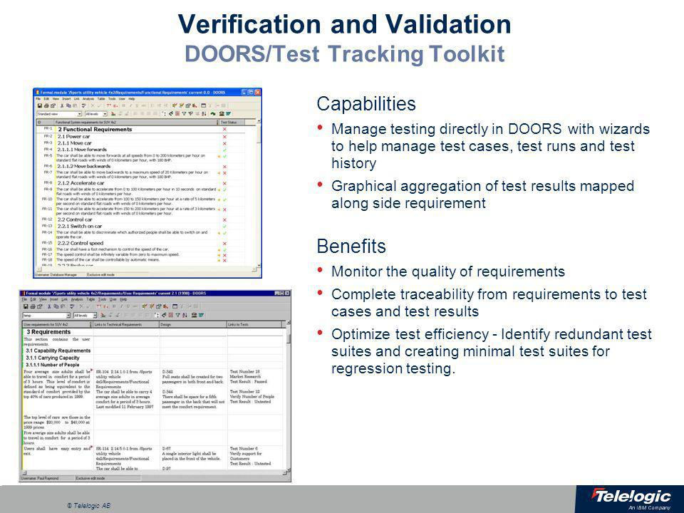 Verification and Validation DOORS/Test Tracking Toolkit