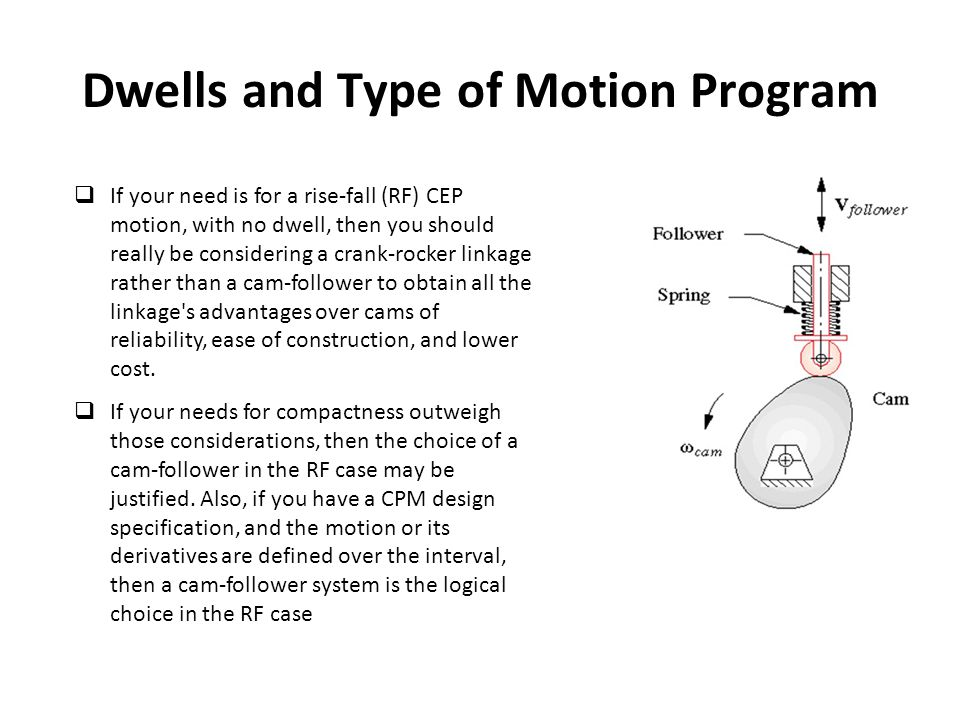 Dwells and Type of Motion Program