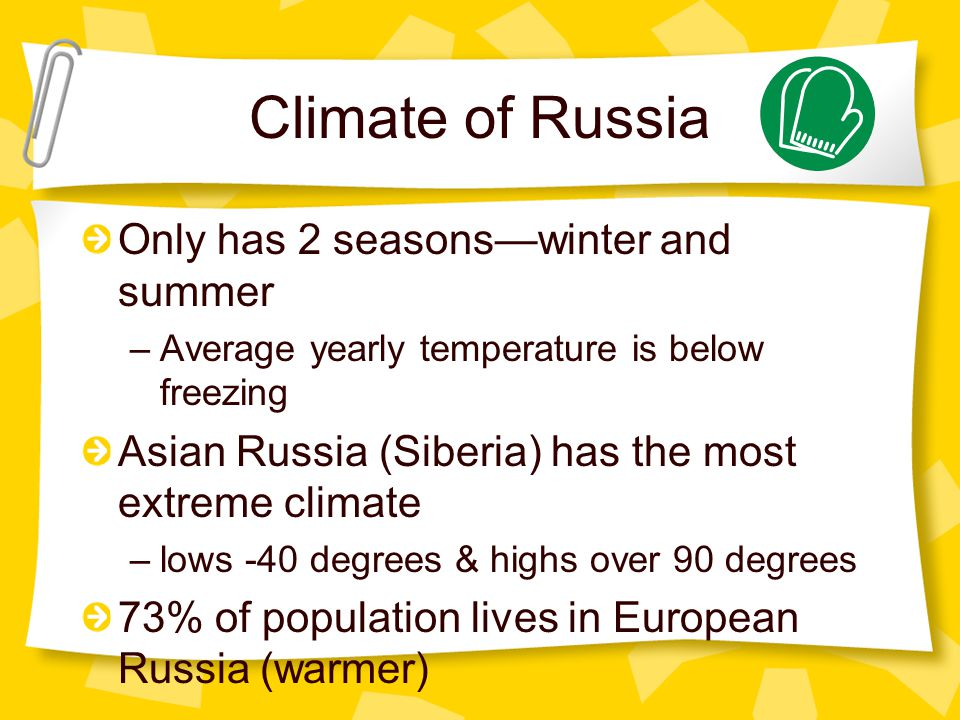 Climate of Russia Only has 2 seasons—winter and summer