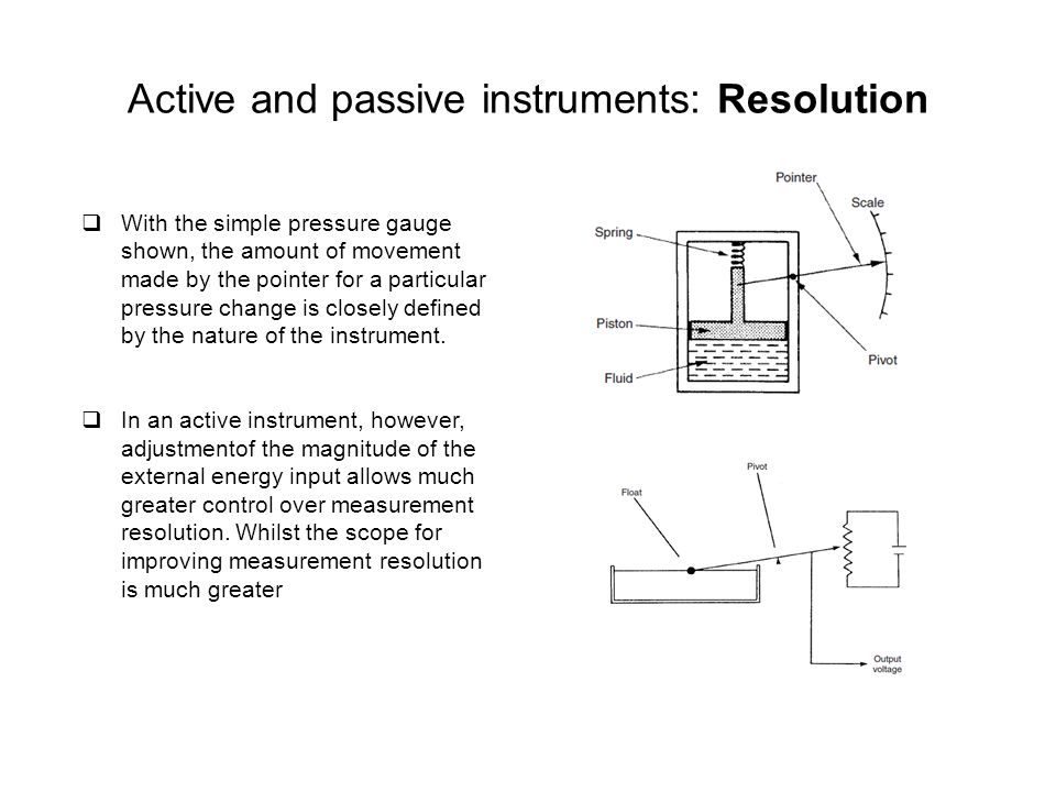 Active and passive instruments: Resolution
