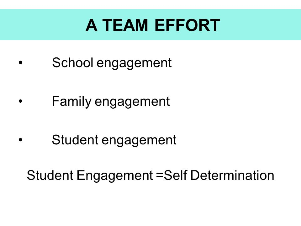Student Engagement =Self Determination
