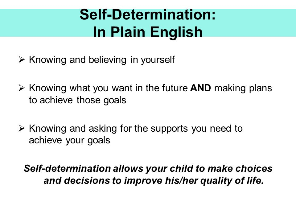 Self-Determination: In Plain English
