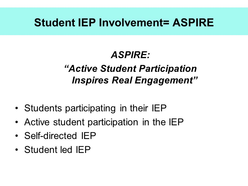 Student IEP Involvement= ASPIRE