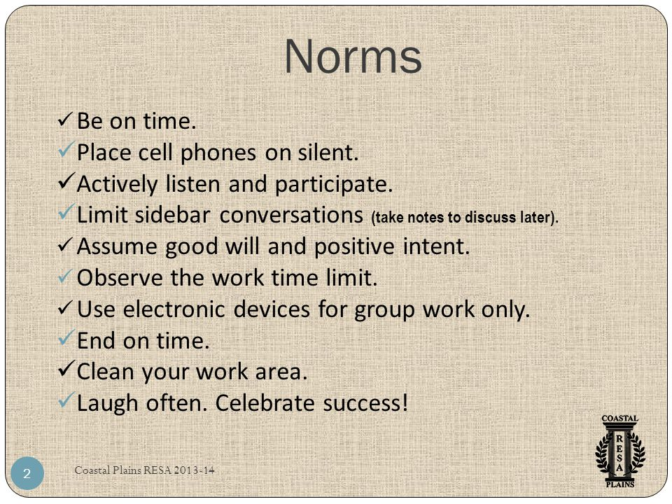 Norms Be on time. Place cell phones on silent.