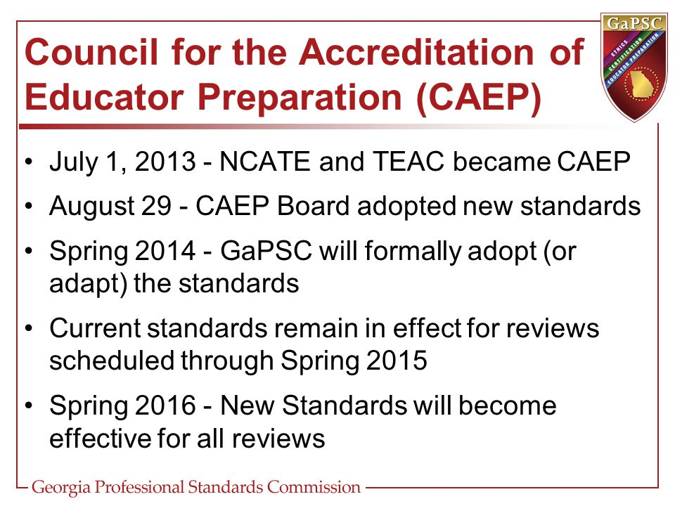 Council for the Accreditation of Educator Preparation (CAEP)