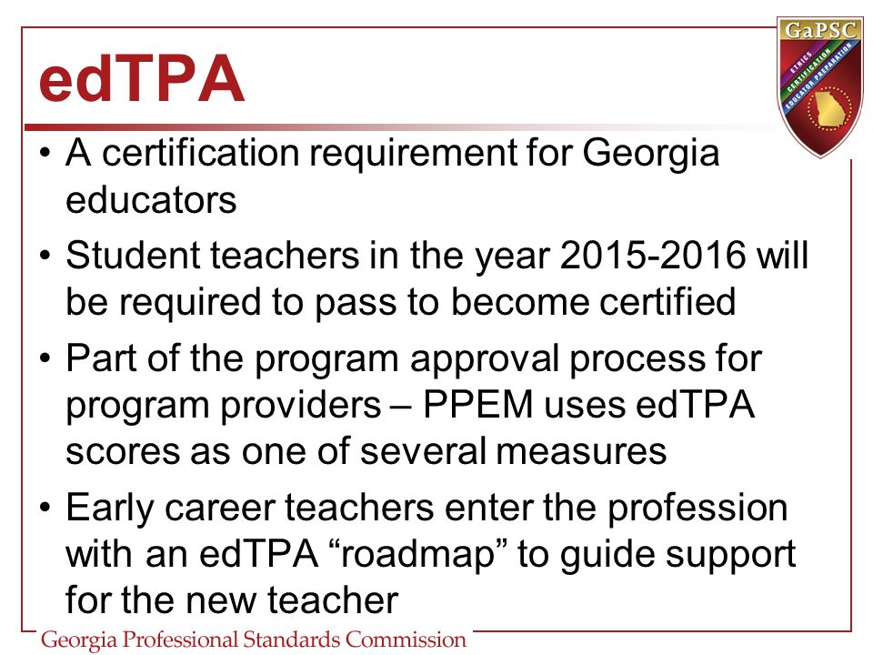 edTPA A certification requirement for Georgia educators