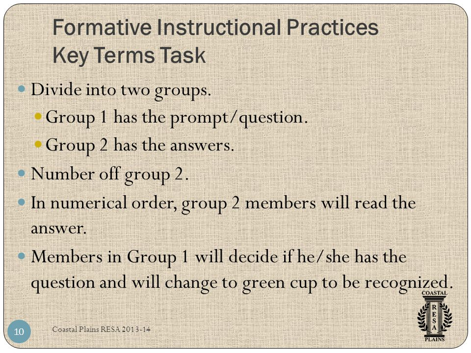 Formative Instructional Practices Key Terms Task