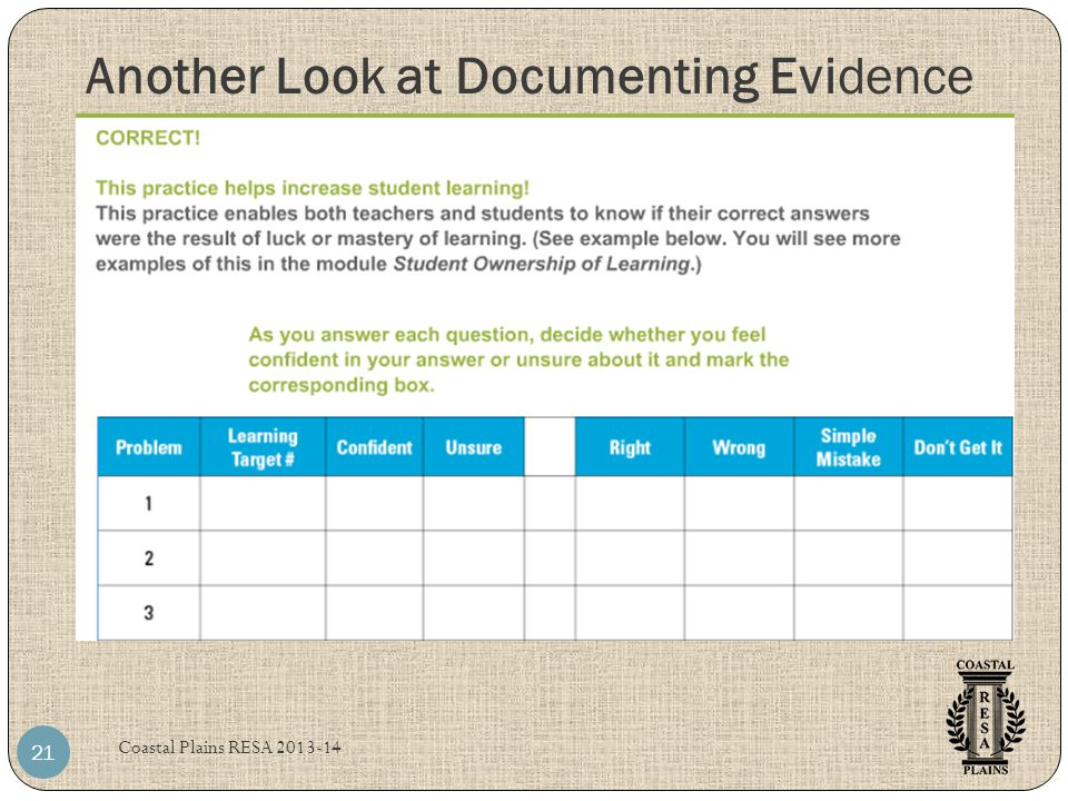 Another Look at Documenting Evidence