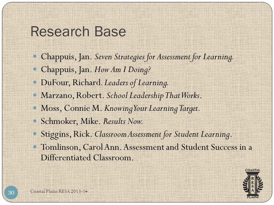 Research Base Chappuis, Jan. Seven Strategies for Assessment for Learning. Chappuis, Jan. How Am I Doing