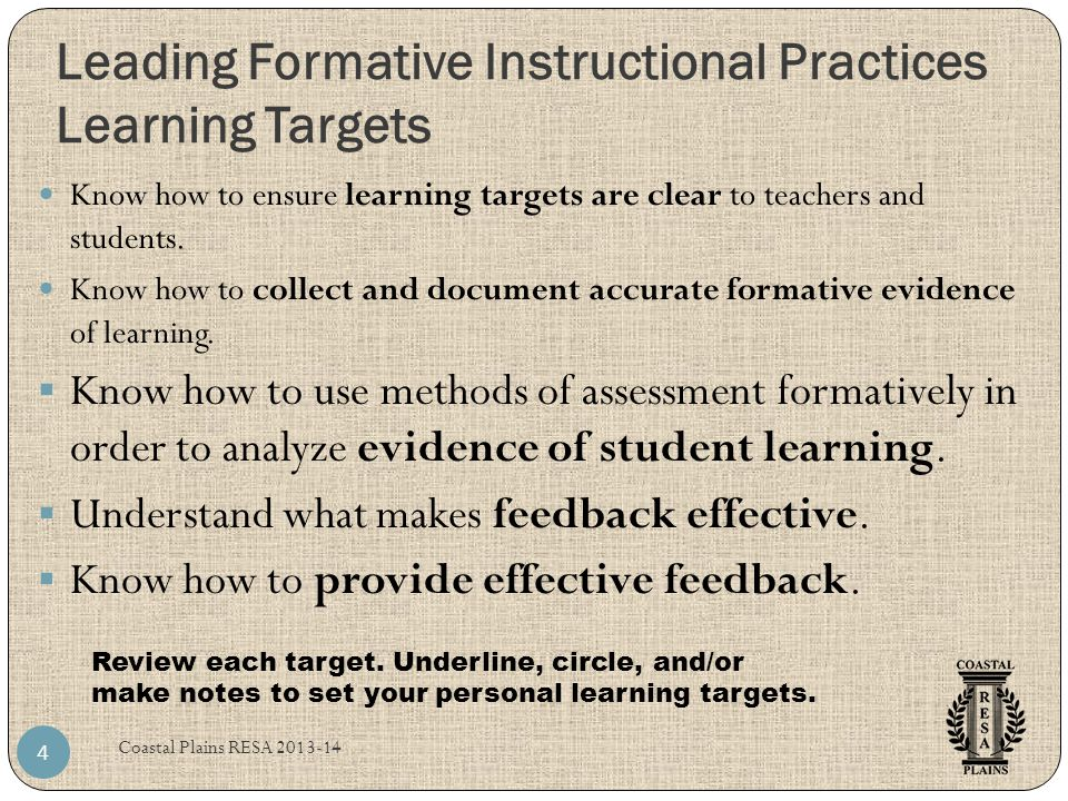 Leading Formative Instructional Practices Learning Targets