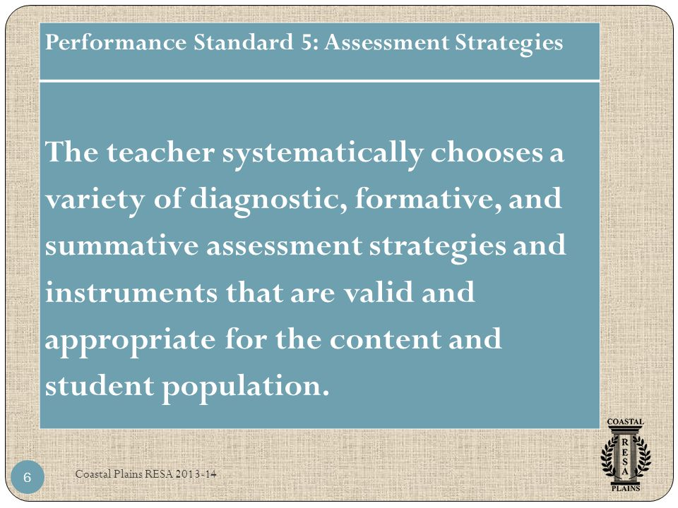 Performance Standard 5: Assessment Strategies