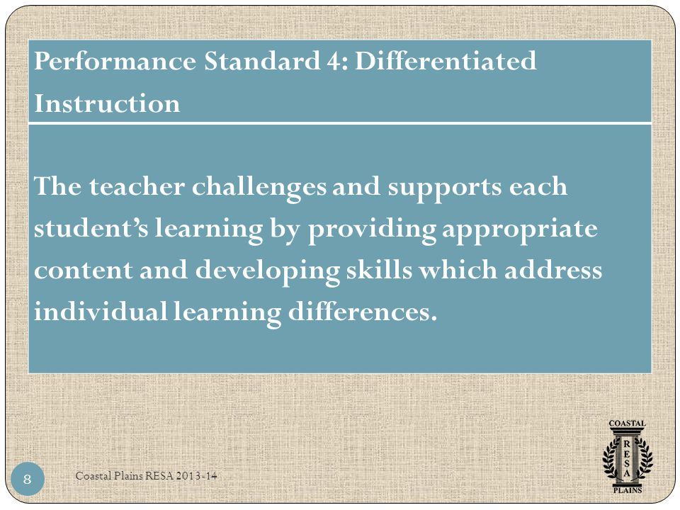 Performance Standard 4: Differentiated Instruction