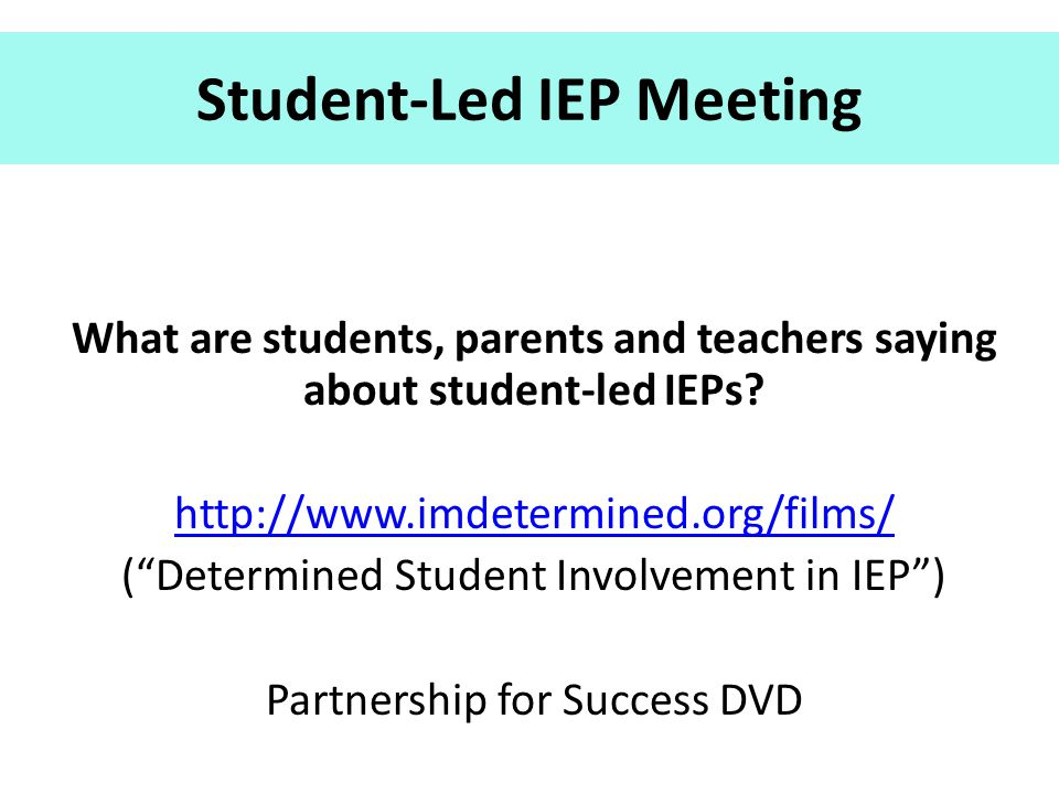 Student-Led IEP Meeting