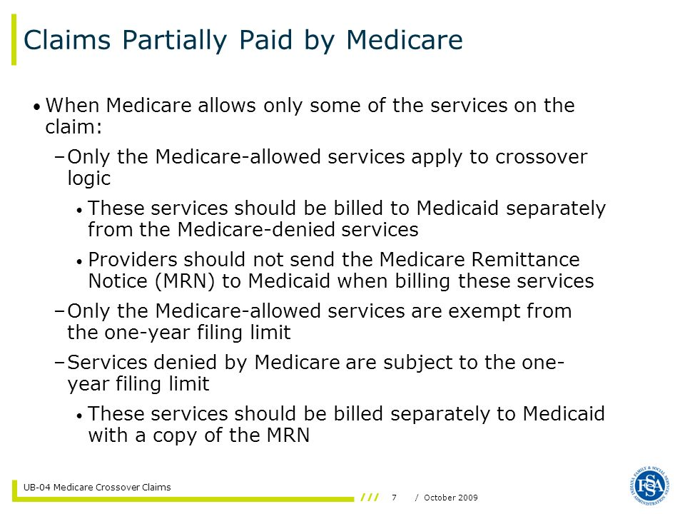 Claims Partially Paid by Medicare