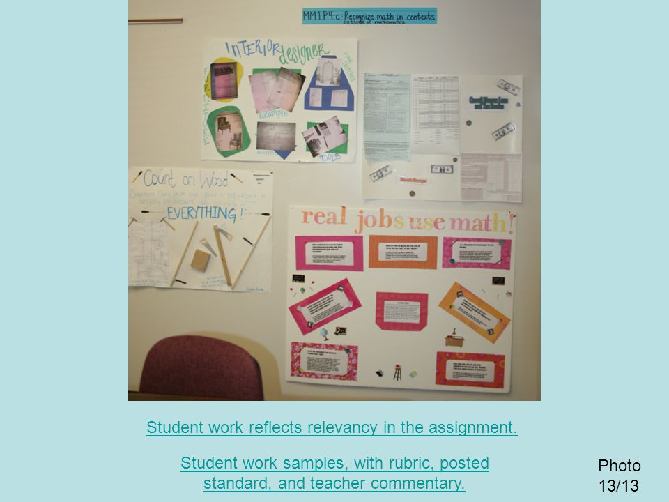 Student work reflects relevancy in the assignment.