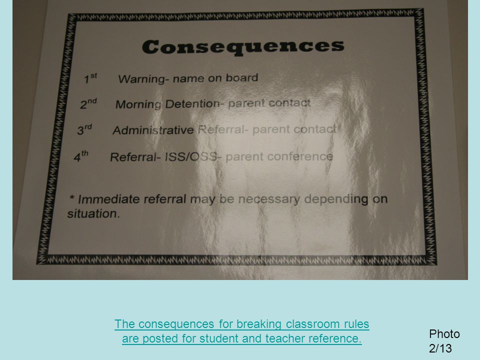 The consequences for breaking classroom rules are posted for student and teacher reference.