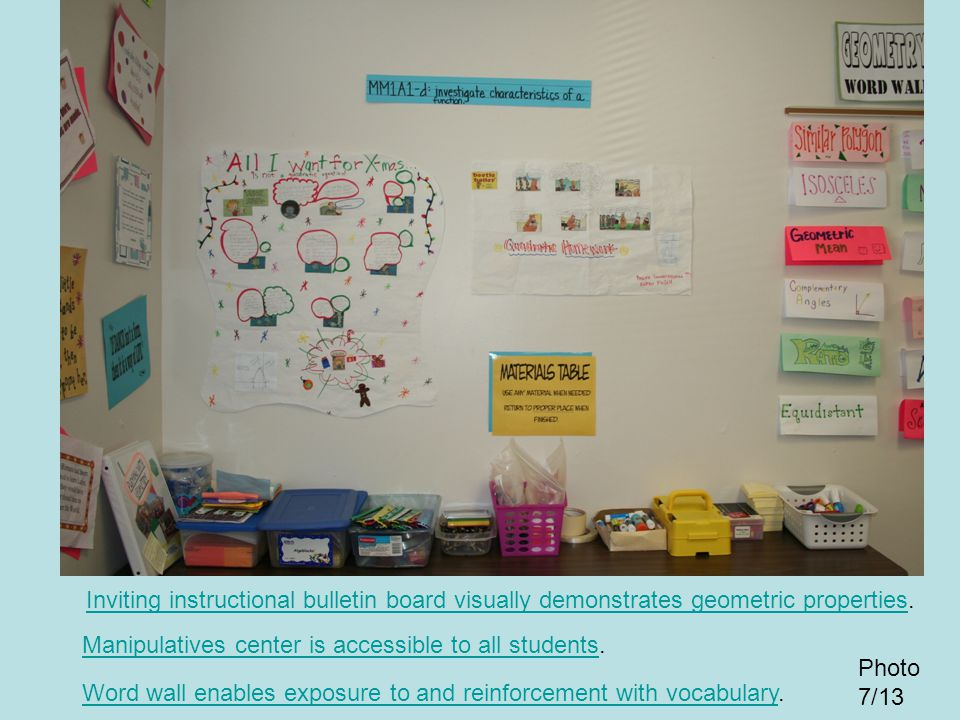 Inviting instructional bulletin board visually demonstrates geometric properties.