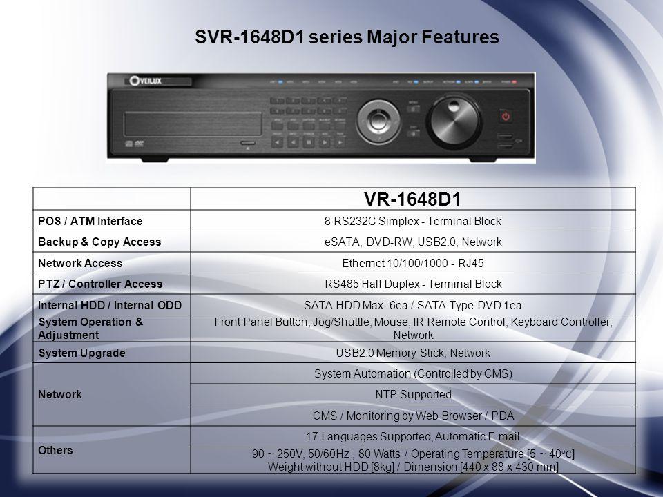SVR-1648D1 series Major Features