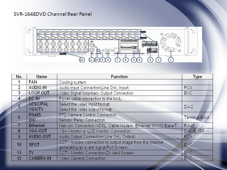 SVR-1648DVD Channel Rear Panel