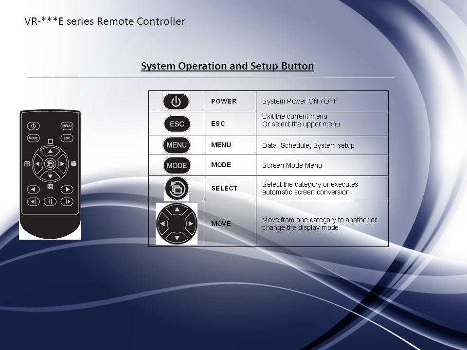 VR-***E series Remote Controller