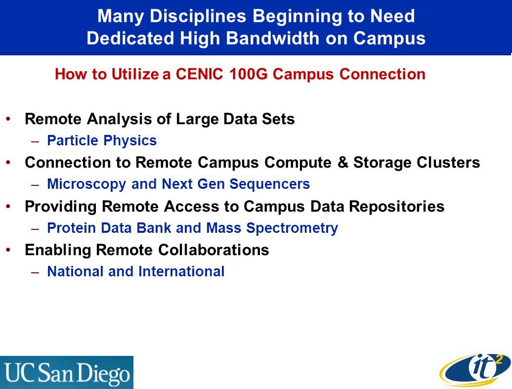 Many Disciplines Beginning to Need Dedicated High Bandwidth on Campus