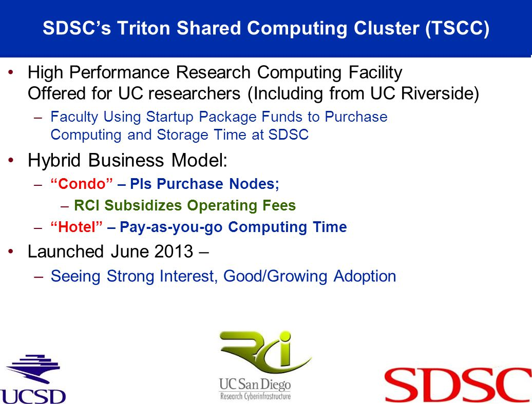 SDSC's Triton Shared Computing Cluster (TSCC)