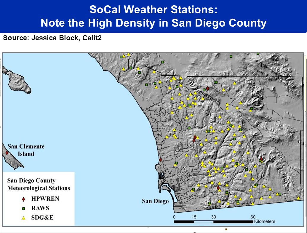 SoCal Weather Stations: Note the High Density in San Diego County