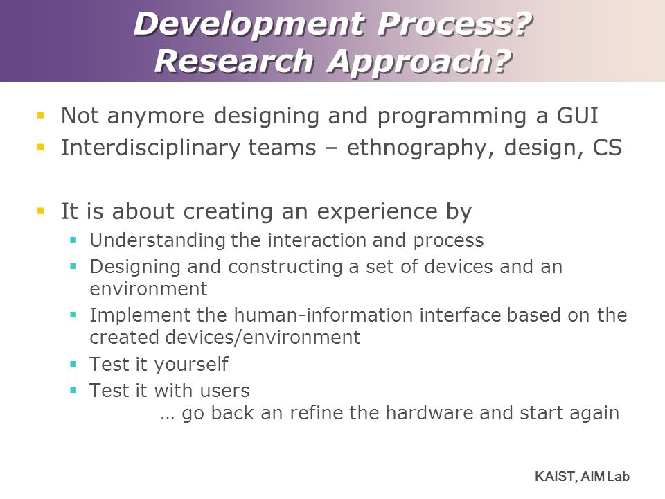 Development Process Research Approach