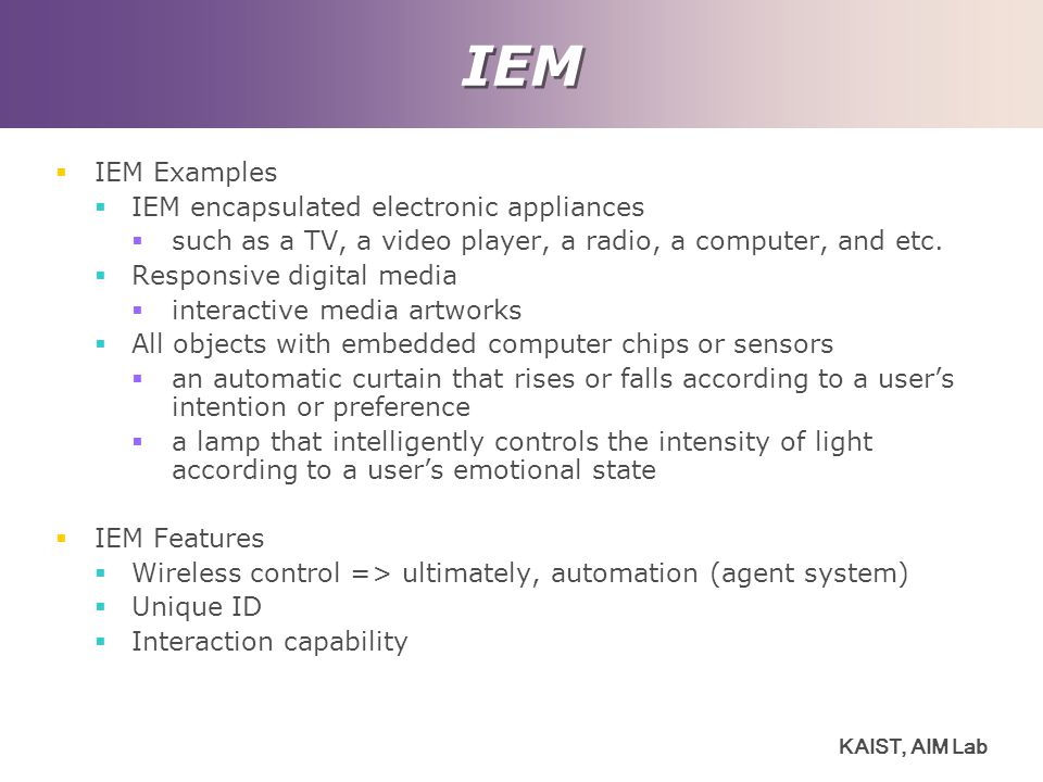 IEM IEM Examples IEM encapsulated electronic appliances