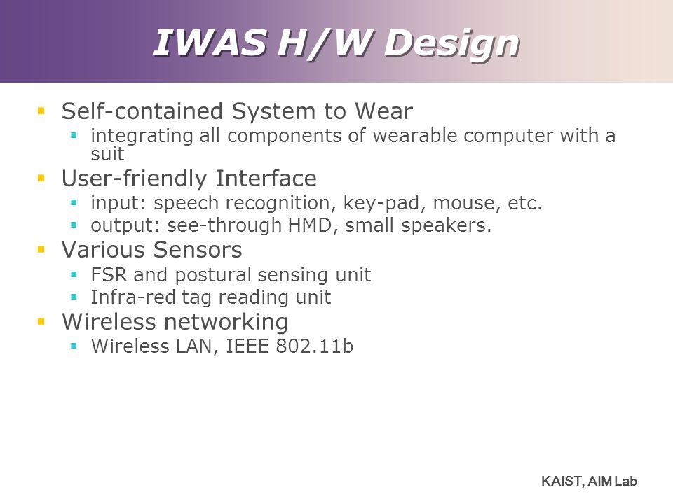 IWAS H/W Design Self-contained System to Wear User-friendly Interface