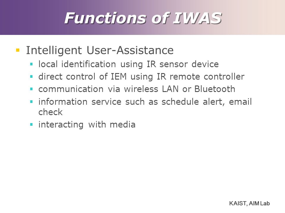 Functions of IWAS Intelligent User-Assistance