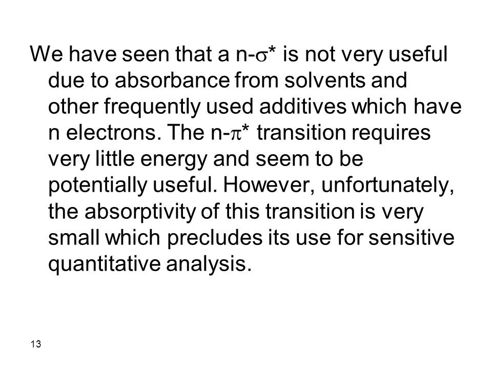 We have seen that a n-s* is not very useful due to absorbance from solvents and other frequently used additives which have n electrons.