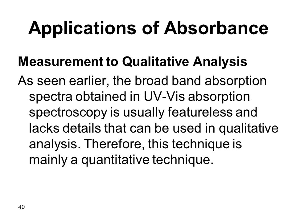 Applications of Absorbance