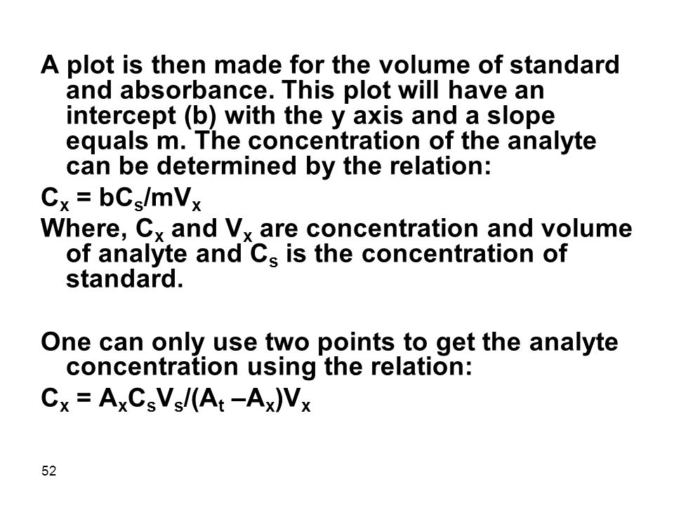 A plot is then made for the volume of standard and absorbance