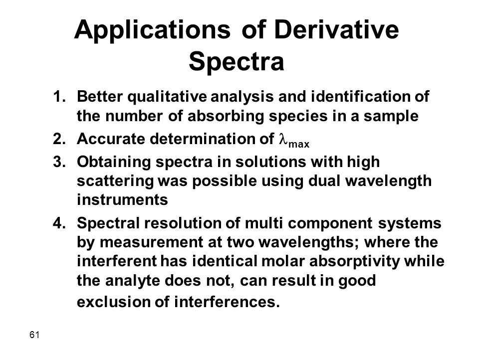 Applications of Derivative Spectra