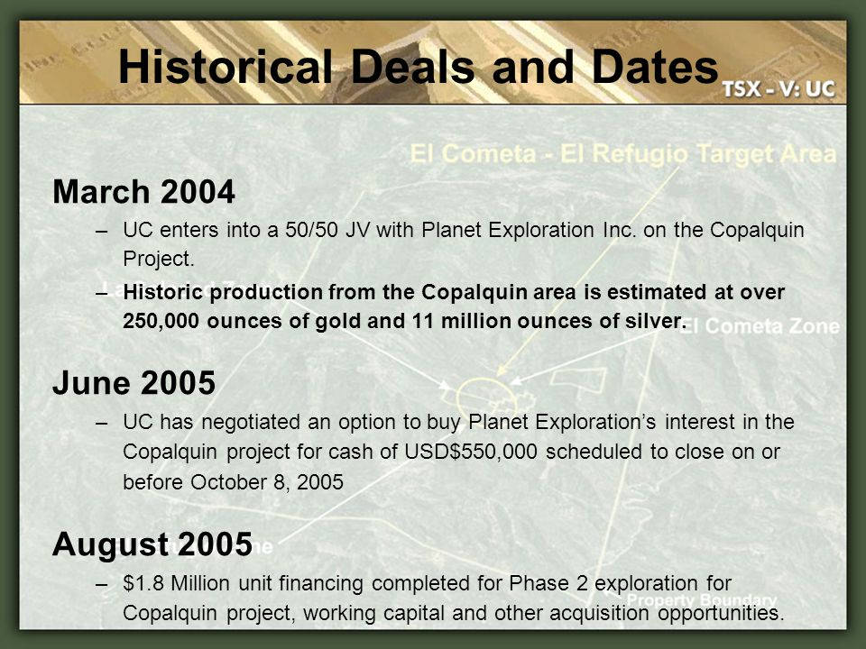 Historical Deals and Dates