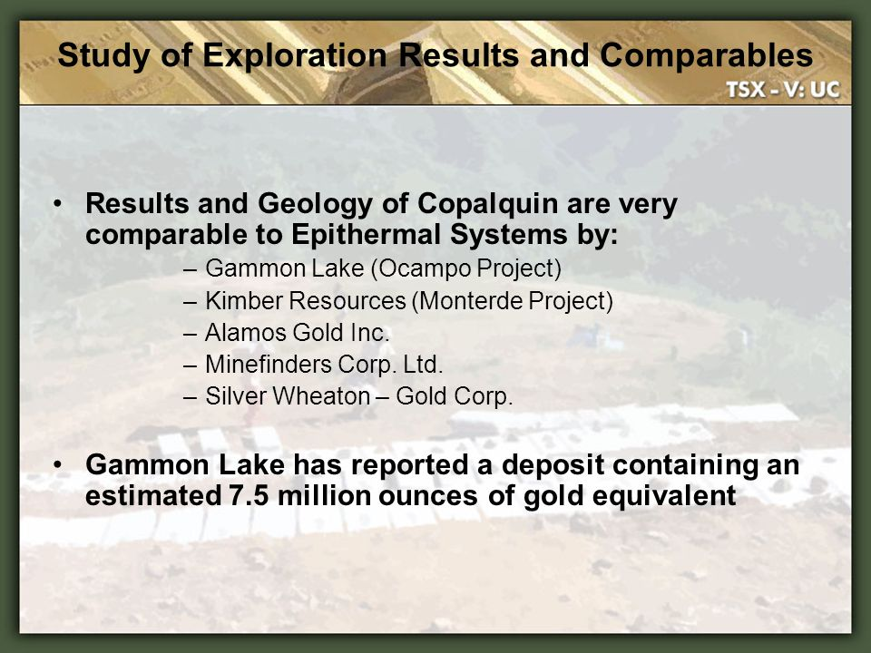 Study of Exploration Results and Comparables