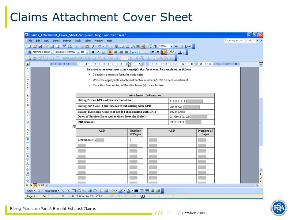 Claims Attachment Cover Sheet