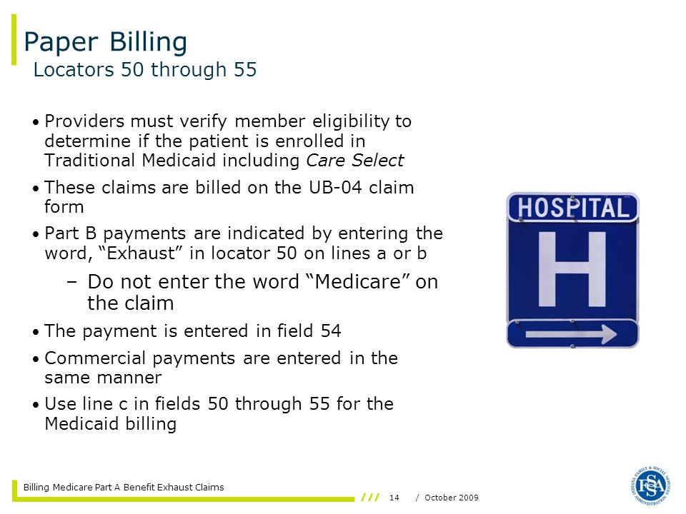 Billing Medicare Part A Benefit Exhaust Claims  Ppt Video Online