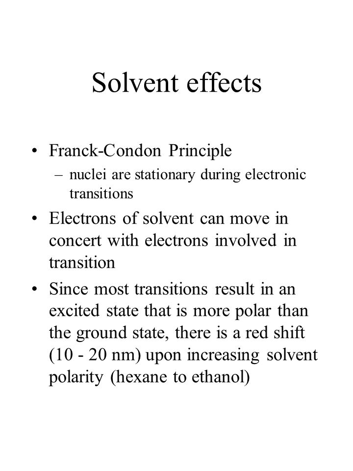 Solvent effects Franck-Condon Principle