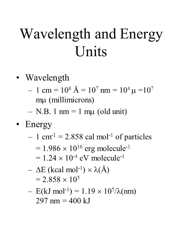 Wavelength and Energy Units