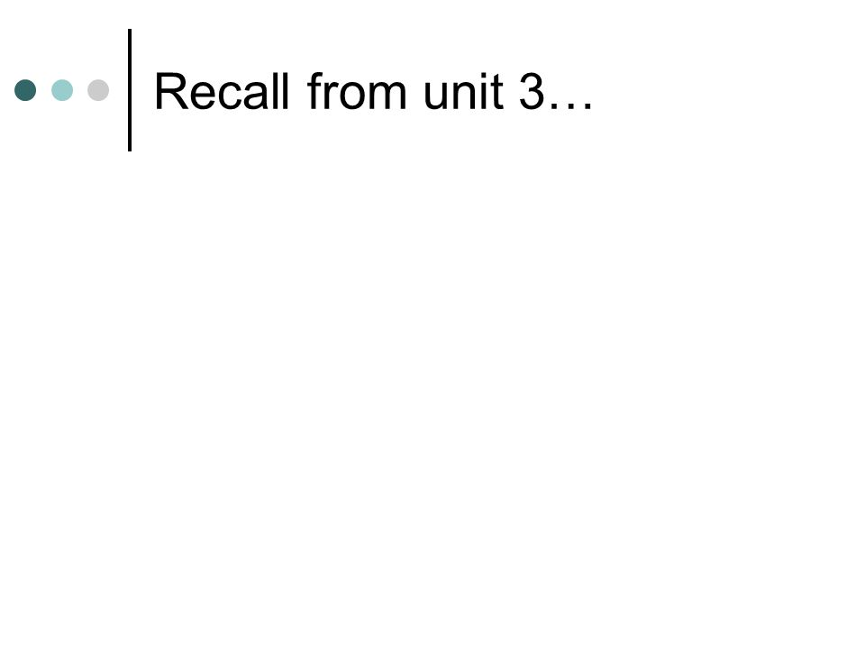 Recall from unit 3…