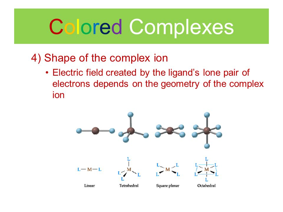 Colored Complexes 4) Shape of the complex ion