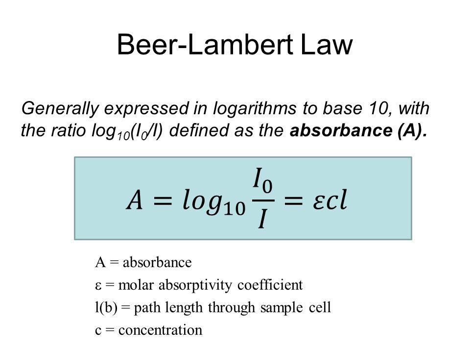 Beer-Lambert Law 𝐴= 𝑙𝑜𝑔 10 𝐼 0 𝐼 =𝜀𝑐𝑙