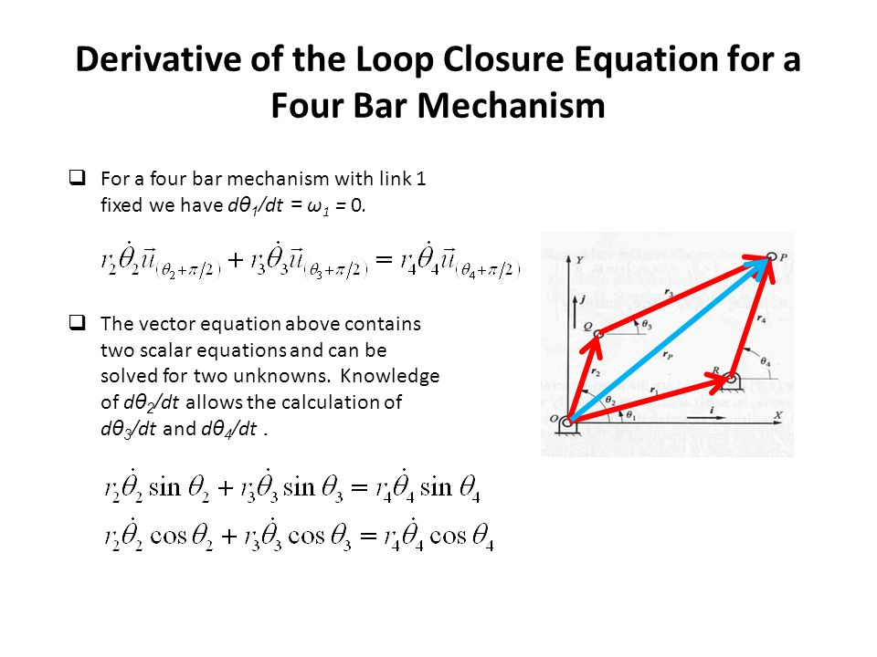 Derivative of the Loop Closure Equation for a Four Bar Mechanism