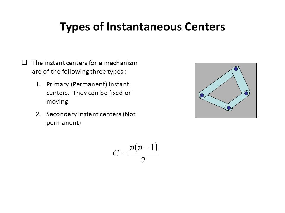 Types of Instantaneous Centers