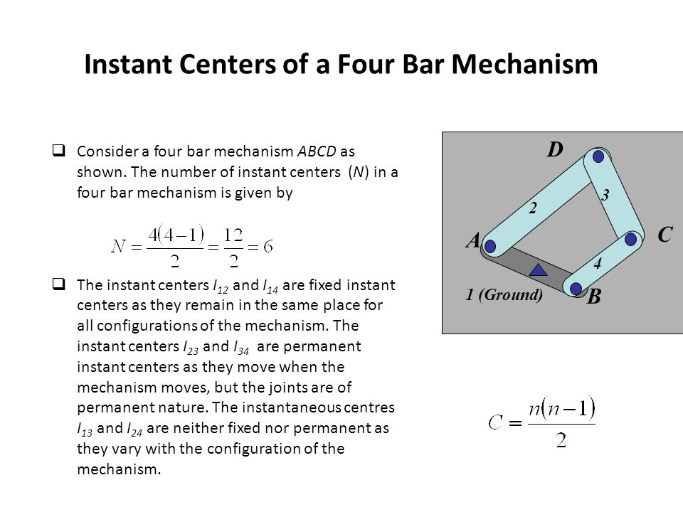 Instant Centers of a Four Bar Mechanism