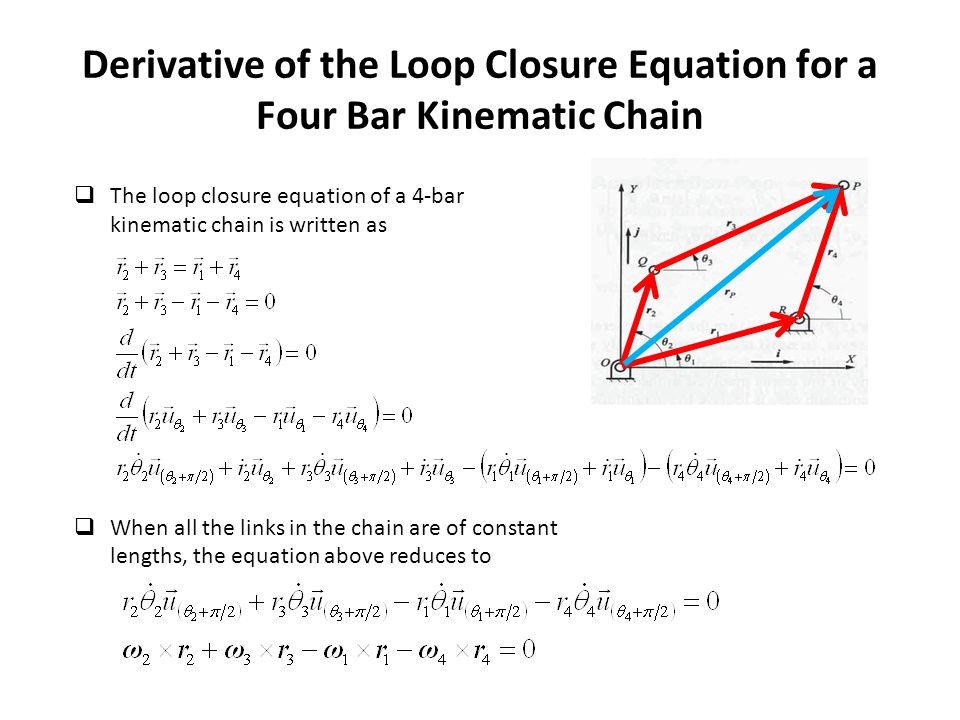 Derivative of the Loop Closure Equation for a Four Bar Kinematic Chain