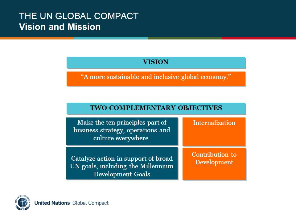 THE UN GLOBAL COMPACT Vision and Mission